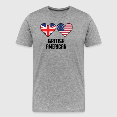 British American Heart Flags - Men's Premium T-Shirt