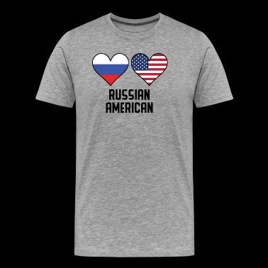 Russian American Heart Flags - Men's Premium T-Shirt