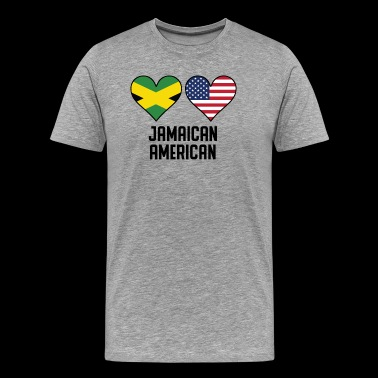 Jamaican American Heart Flags - Men's Premium T-Shirt