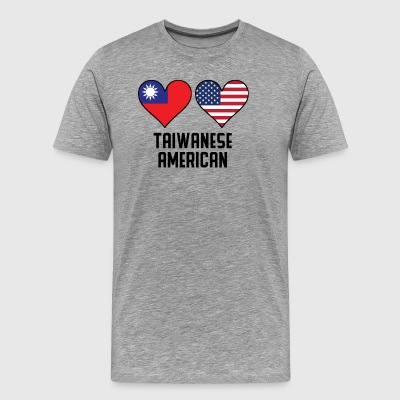Taiwanese American Heart Flags - Men's Premium T-Shirt
