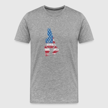 American Flag New Hampshire Deer Hunting Distresse - Men's Premium T-Shirt