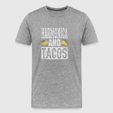 Harmonica and Tacos Funny Taco Band Distressed Shi - Men's Premium T-Shirt