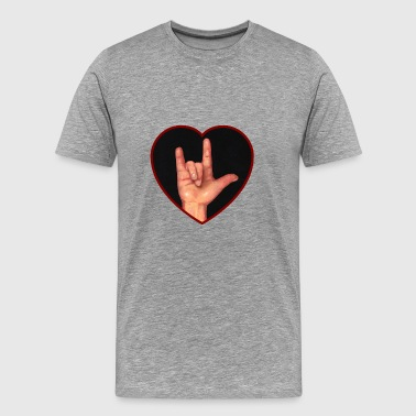 Hand Making Sign For  I Love You in ASL, Heart - Men's Premium T-Shirt