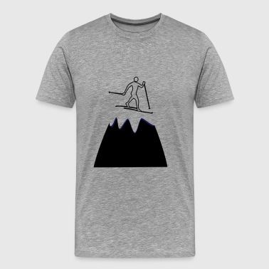 Cross-country skiers on the mountain - Men's Premium T-Shirt