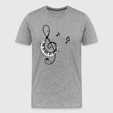 Clef with piano keys and music notes - Men's Premium T-Shirt