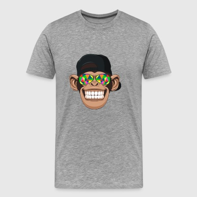 Smiling chimp monkey with kaleidoscope sunglasses - Men's Premium T-Shirt