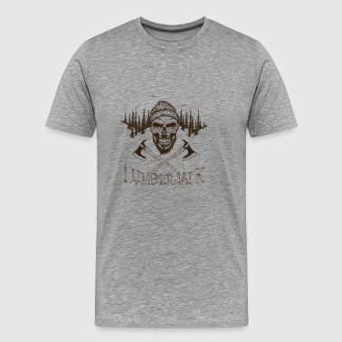T Shirt lumberjack skull ax vector image cartoon - Men's Premium T-Shirt