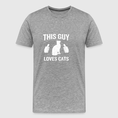 This Guy Loves Cats Funny Cat Lover Gift - Men's Premium T-Shirt