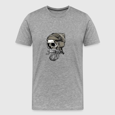 hipster bearded skull with headphones - Men's Premium T-Shirt