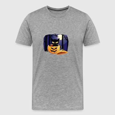 Happy Halloween Cat In Pumpkin Jack O Lantern - Men's Premium T-Shirt