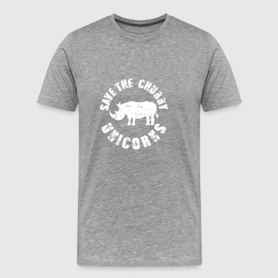 Save The Chubby Unicorns Funny Rhinoceros Animal - Men's Premium T-Shirt
