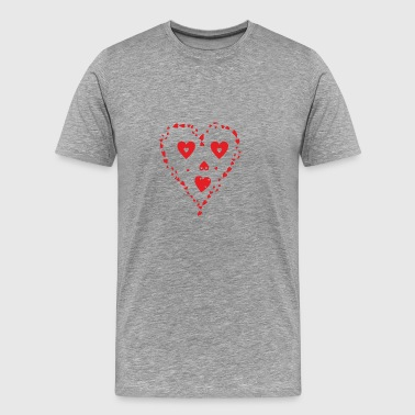 Heart shape as a face made of red little hearts - Men's Premium T-Shirt