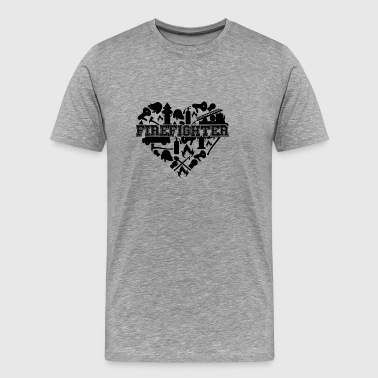 Firefighter Heart T shirt - Men's Premium T-Shirt