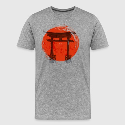 Premium Japanese Artistic Temple Watercolor Shirt - Men's Premium T-Shirt