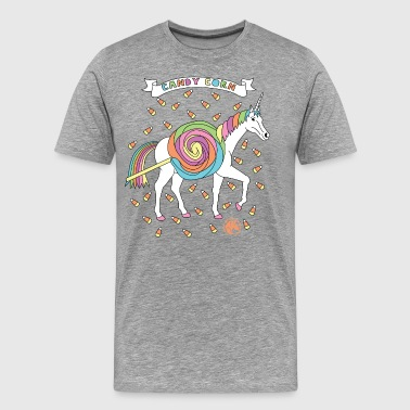Candy Corn Unicorn Outline - Men's Premium T-Shirt