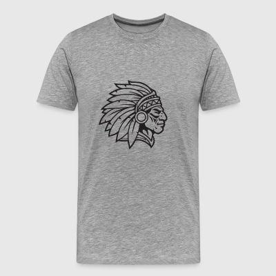 Indian Chief Mascot Cherokee Mascot Warrior Brave - Men's Premium T-Shirt