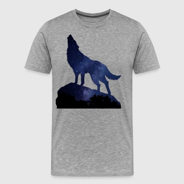 Wolf Howling Night - Men's Premium T-Shirt