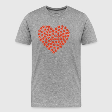 Heart of Red Paws for Cats and Dogs Lovers - Men's Premium T-Shirt