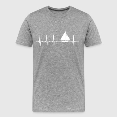 Heartbeat Sailing boat Sailor Fun quote cool gift - Men's Premium T-Shirt