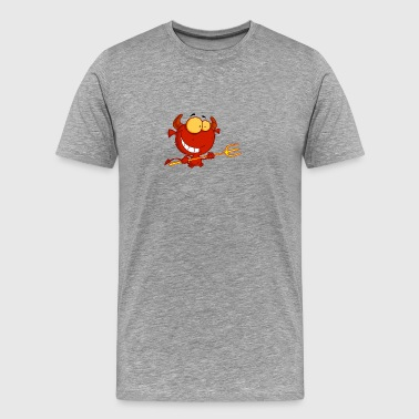 Red Devil Holding A Pitchfork - Men's Premium T-Shirt