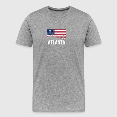 Atlanta Georgia Skyline American Flag - Men's Premium T-Shirt