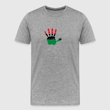 Pan African Flag Hand Print Sign Afro- American - Men's Premium T-Shirt