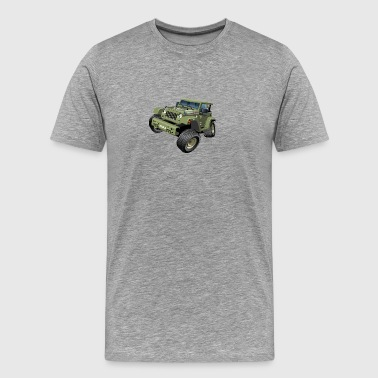Military Jeep SUV Monster Truck car vector cartoon - Men's Premium T-Shirt