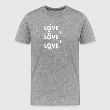 Gay t shirts white Love is - Men's Premium T-Shirt