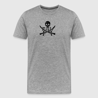 Pirate Skull and Crossbones Math Pi Rate - Men's Premium T-Shirt