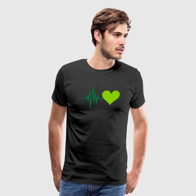 Pulse, frequency, heartbeat, vegan heart rate,  - Men's Premium T-Shirt