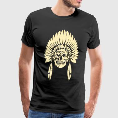 Skull with indian headdress - Men's Premium T-Shirt