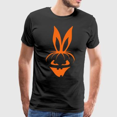 pumpkin bunny rabbit ears halloween hare scary  - Men's Premium T-Shirt