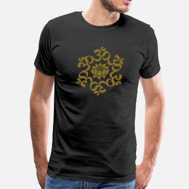 India New Age OM Lotus, Meditation, Yoga, AUM, Buddhism - Men's Premium T-Shirt