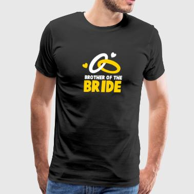 Brother of the BRIDE with cute wedding rings - Men's Premium T-Shirt
