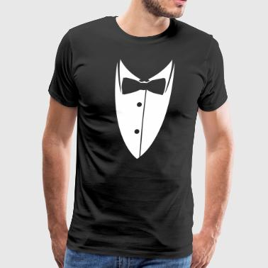 Collar with bow tie made ​​suit jacket  - Men's Premium T-Shirt