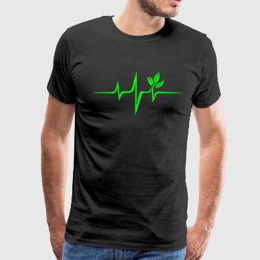 Pulse Green, Go Vegan, Save Earth, Wave, Heartbeat - Men's Premium T-Shirt
