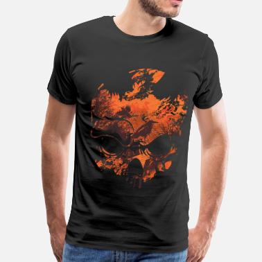 Illusion OPTICAL ILLUSION - SKULL, CROWS & TREES - Men's Premium T-Shirt