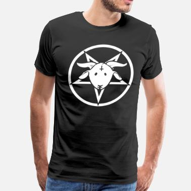 Inverted Cross Happy Goat - Pentagram with Inverted Cross - Men's Premium T-Shirt