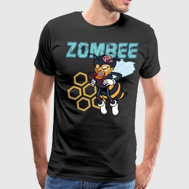 Zombee Zombie Bee Halloween for Beekeeper Apiarist Dark Light - Men's Premium T-Shirt