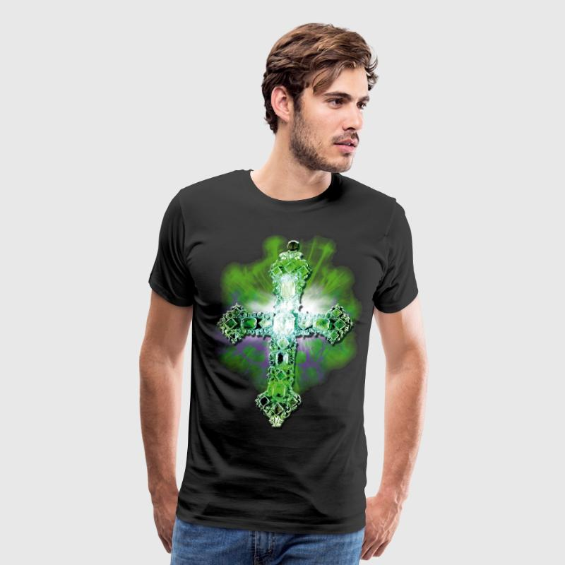Green Cross recious stones diamonds glamor luxury - Men's Premium T-Shirt