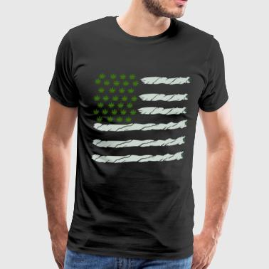 USA Weed Flag American - Men's Premium T-Shirt