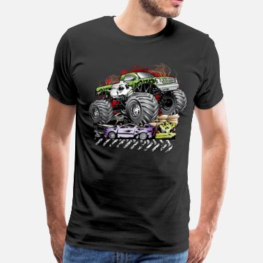 Flamed Mega Death Monster Truck - Men's Premium T-Shirt