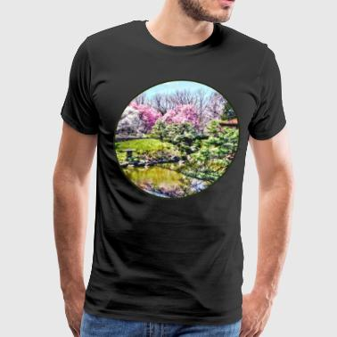Japanese Garden in Spring - Men's Premium T-Shirt