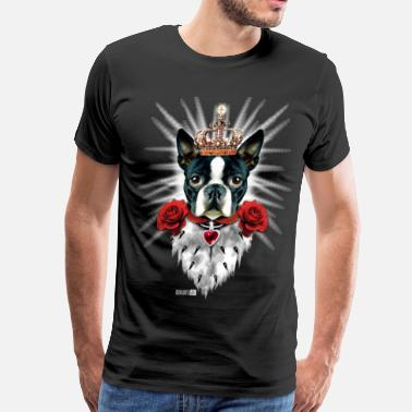 Luxury 01 Boston Terrier King I LOVE MY DOG DOGS Heart  - Men's Premium T-Shirt
