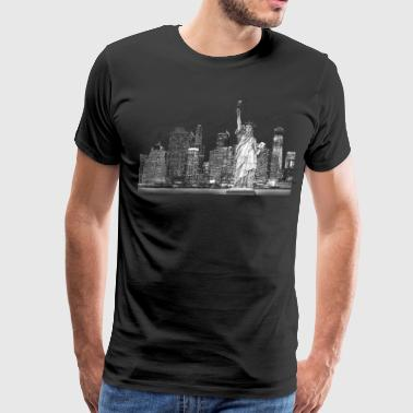 Statue Of Liberty New York Skyline Night - Men's Premium T-Shirt