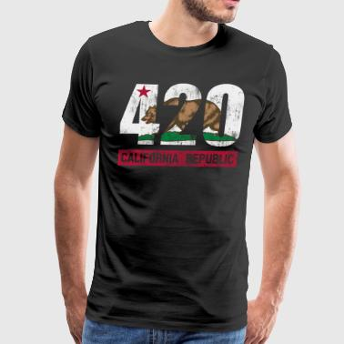 420 California Republic Flag - Men's Premium T-Shirt