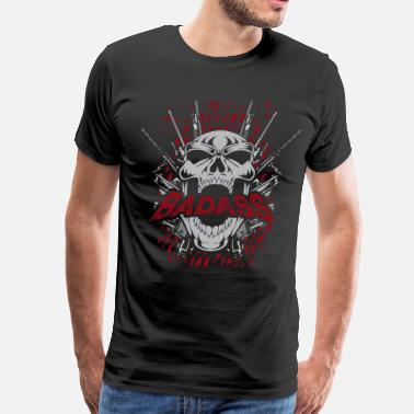 Ass Fire Bad Ass Skull Guns - Men's Premium T-Shirt