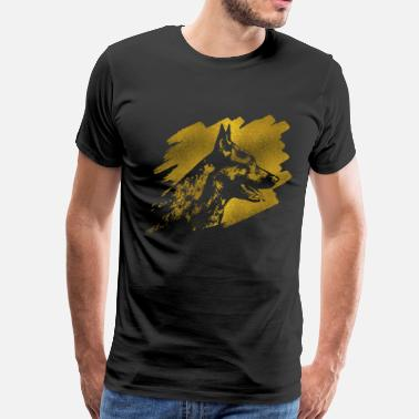 Dutch Shepherd Dog Decorative Golden Dutch Shepherd Design - Men's Premium T-Shirt