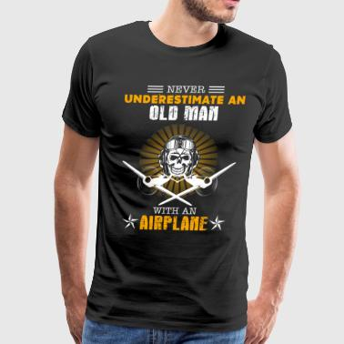 Old Man With An Airplane - Men's Premium T-Shirt