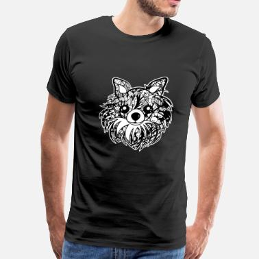 Furry Art Longhaired Chihuahua Face Graphic Art T-Shirt - Men's Premium T-Shirt